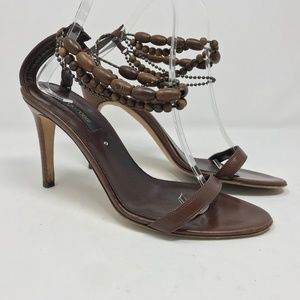 Sergio Rossi Leather Sandals Wood bead ankle strap